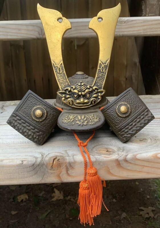 "Vintage Cast Iron And Brass Japanese Sumarai Helmet RARE! Mideival 8"" x 9""x6.25"""
