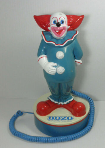 """Bozo The Worlds Most Famous Clown Phone Telemania 1988  12"""" Tall Telephone"""
