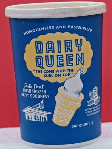 Vintage 1950 Dairy Queen unused 1 Quart Wax Paper Cup hard to find good graphics
