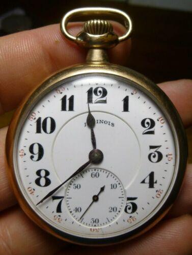 1918 Illinois 16s 15j Grade 303 Pocket Watch GF Case Parts or Restore Bird Engra