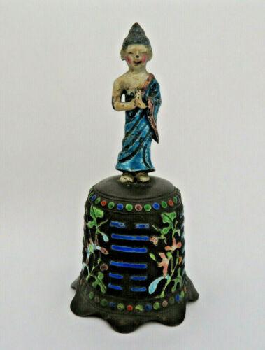 Antique Qing Chinese Enamel Bell ~ Taoist Immortal Figure