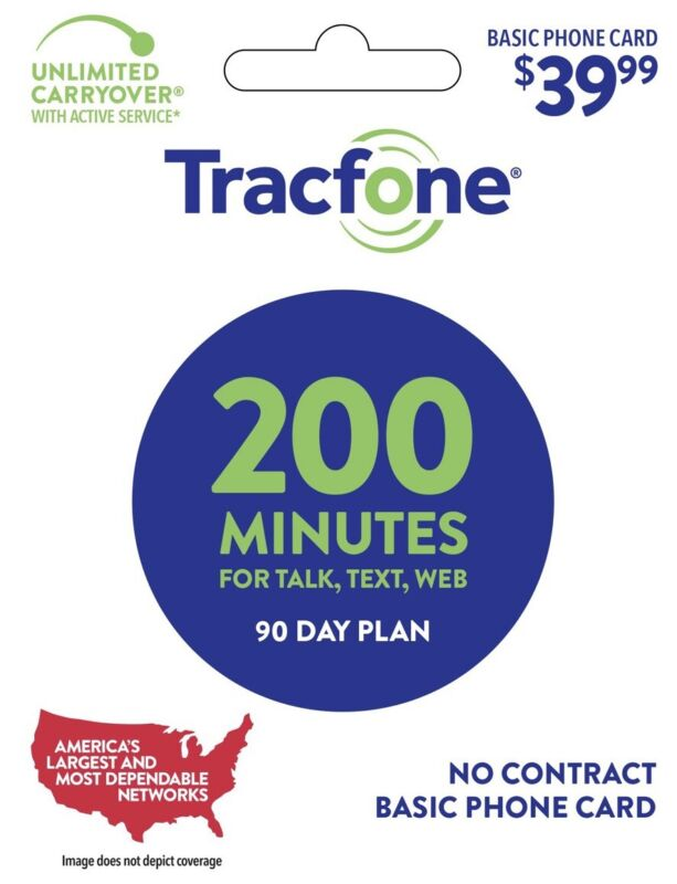Tracfone 90 Day Plan - 200 Minutes For Talk, Text And Data!