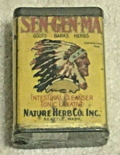 Vntg 1925 Sen-Gen-Ma Laxative Tin Can, Paper Label, Not a Spice, Native American