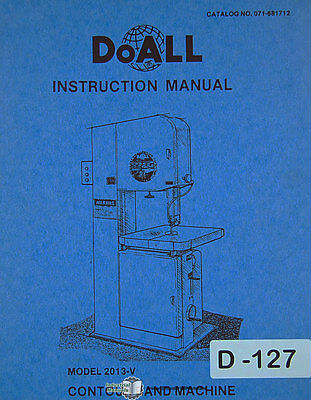 Doall 2013-v Contour Band Saw Operations And Electrical Manual 1988