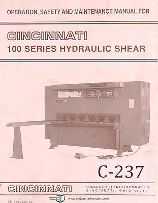Cincinnati 100 Series Hydraulic Shear Operations Manual 1985