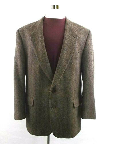 Vtg Harris Tweed Men 46L Burgundy Herringbone 2 Button 1 Vent Blazer Sport Coat