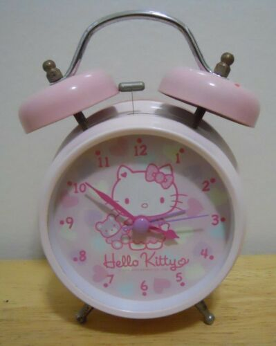SANRIO / HELLO KITTY ~ TWIN BELL ALARM CLOCK ~ VINTAGE / BATTERY OPERATED