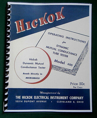 Hickok 600 Tube Tester Instruction Manual Tube Data