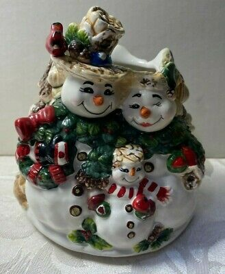 Home Interiors Candle Topper Shade Snowman Family Evergreen Tree Cardinal