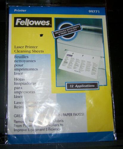 Vintage Fellowes Laser Printer Cleaning Sheets-12 Application Pk. # 99770 NIB