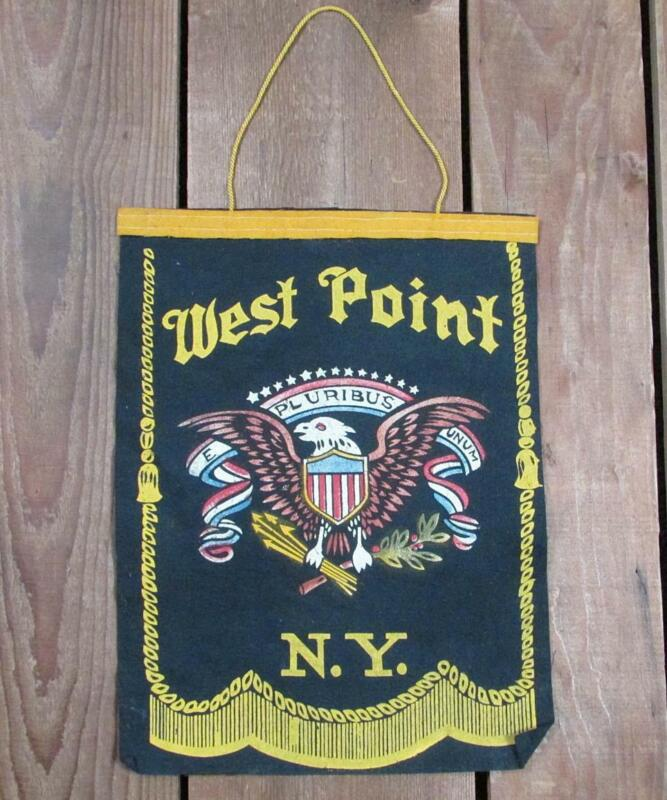 "Vintage 1940s West Point US Army Wool Felt Banner Pennant WWII Military 8""x11"""