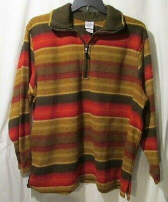 Just My Size fleece 1/4 zip top shirt Women's 22/24W Brown Red stripe  (Brown Striped Fleece)