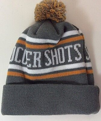 Soccer Shots Unisex One Sz Hat Gray Striped Roll-Up Pom-Pom Beanie Winter Cap