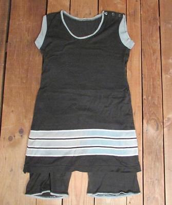 Vintage 1920s Wool Knit Swimsuit Antique Bathing Suit Stripes Victorian Beach