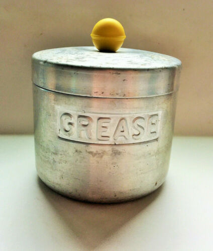 Vintage Aluminum Grease Canister Turner Specialty Texas USA Yellow Handle