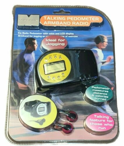 NEW SEALED Maximo Concepts Talking Pedometer Armband & FM Radio w/Stereo Earbuds