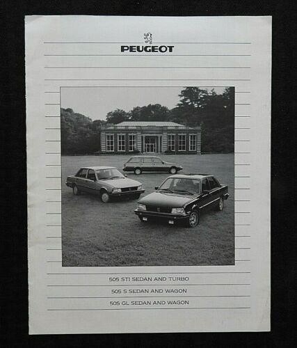 """1985 PEUGEOT 505 S STI GLTURBO"" SALES SPECS BROCHURE NICE PROSPEKT + POSTCARD"