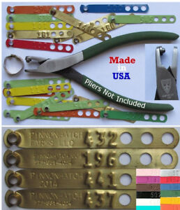 Leg Bands 100pk CUSTOM STAMPED Brass Chicken Pheasant Poultry Duck Peacock Tags