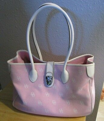 VERY NICE Dooney & Bourke Double Long Handle Tote Large Purse Pink White (Dooney And Bourke Double Long Handle Tote)