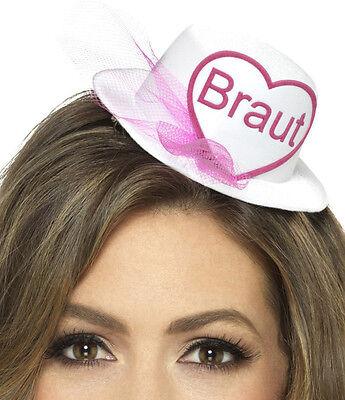 Mini Hut mit der Aufschrift BRAUT Weiß & Brautschleier Junggesellenabschied JGA