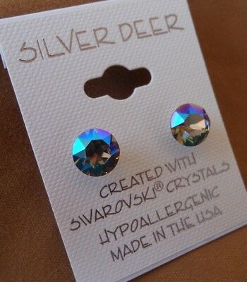 HYPOALLERGENIC Earrings Swarovski Elements Crystal Black Diamond Aurora Borealis