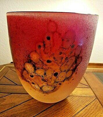 Scavo Bowl - EXQUISITE BARBINI MURANO SCAVO Art Glass VASE/BOWL, RARE RED COLOR, Italy