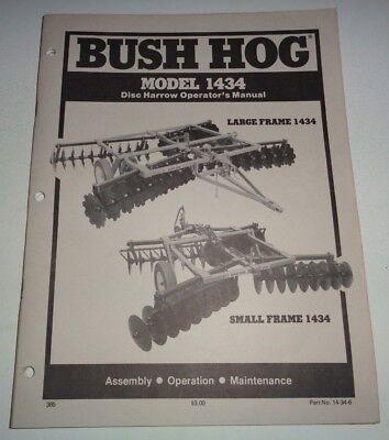 Bush Hog 1434 Disc Harrow Operators Assembly Operation Maintenance Manual