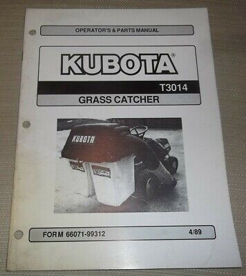 Kubota T3014 Grass Catcher Operators Maintenance Illustrated Parts Manual Book
