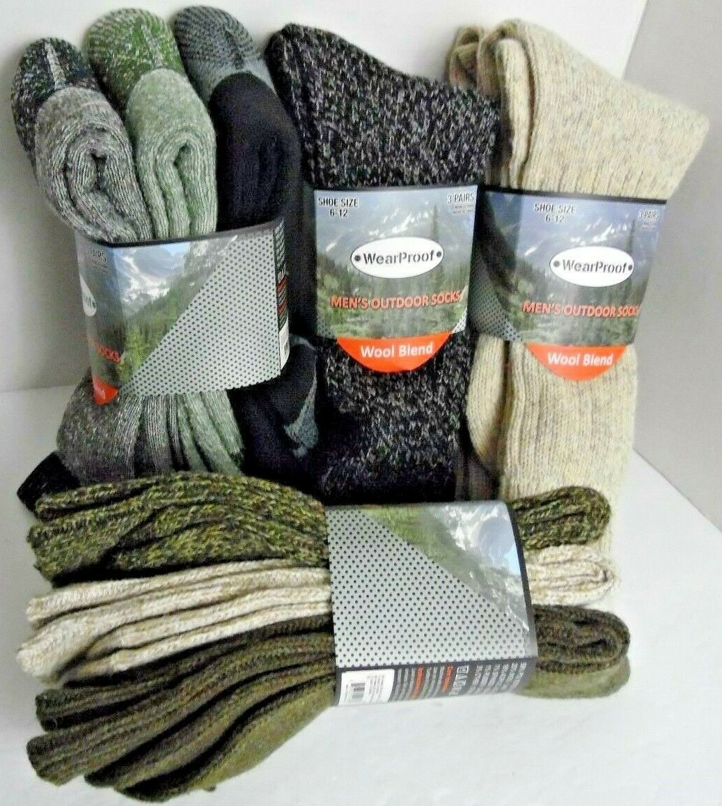 3 Pairs WearProof Mens Outdoor Socks Shoe Size 6-12 NEW Wool Blend CHOICE of 4