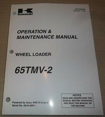 Kawasaki 65tmv-2 Wheel Loader Operation Maintenance Book Manual 65j4-4001-up