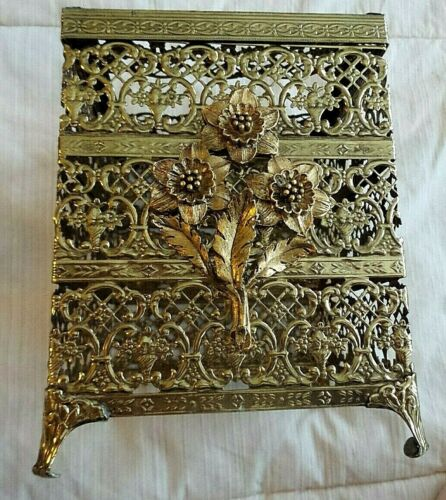VINTAGE ORNATE ORMALU TISSUE HOLDER RAISED FLOWERS ON FRONT