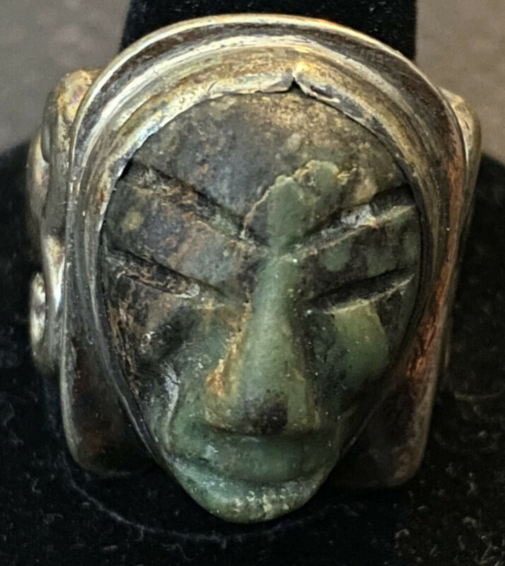 Vintage MATL Matilda Poulat .900 Silver Green Turquoise Face Ring Size 10
