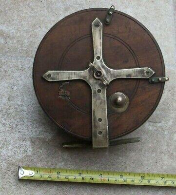 "Vintage Milwards Wooden Fishing Reel Brass Star Back Brass 6"" Diameter"