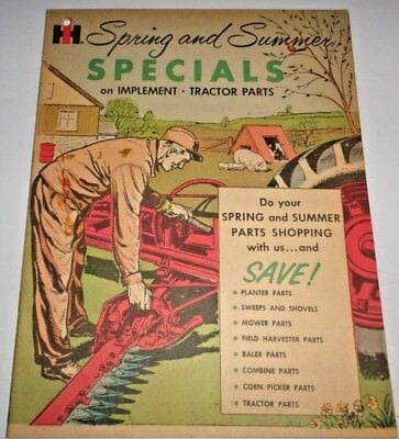 Ih Tractor Implement Parts Spring Summer Brochure Manual Late 1950s Ihc