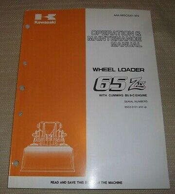 Kawasaki 65ziv 65z-iv Wheel Loader Operation Maintenance Book Manual Sn 65c2
