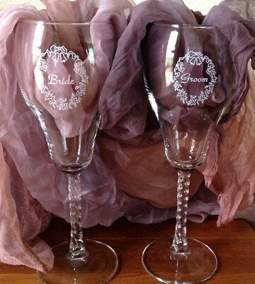 Vintage Crystal Bride And Groom Toasting Fluted Glasses with original box ](Bride And Groom Glasses)