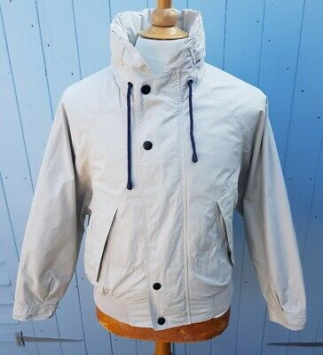 Nautica Cotton Bomber Jacket Beige Medium Hood in Collar