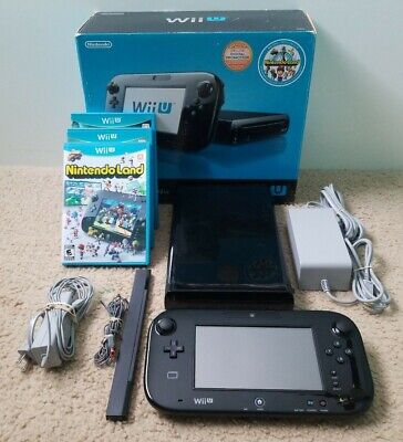 Nintendo Wii U WUP-101 32GB Console Deluxe Box Set W/ 3 Games & Gamepad - Black