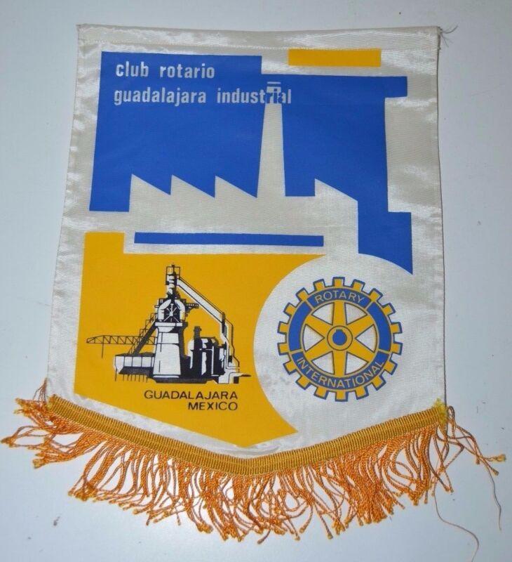 Vintage Industrial Guadalajara Mexico Rotary International Club Wall Banner Flag