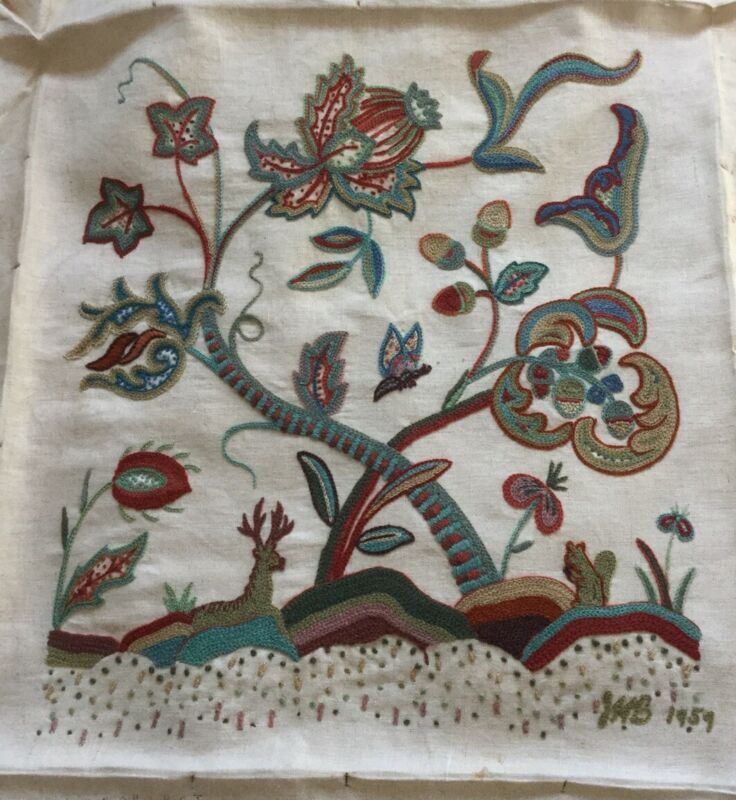 Vintage Crewel Embroidery Burlap Tapestry  Woodland Scene Shabby Chic 1959