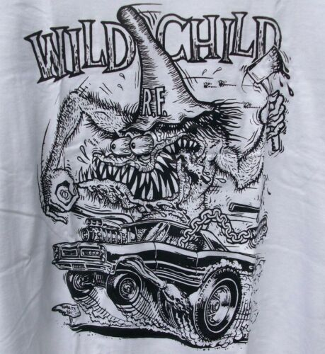 Ed Big Daddy Roth Rat Fink Pontiac GTO WILD CHILD AX Black & White T-Shirt Large