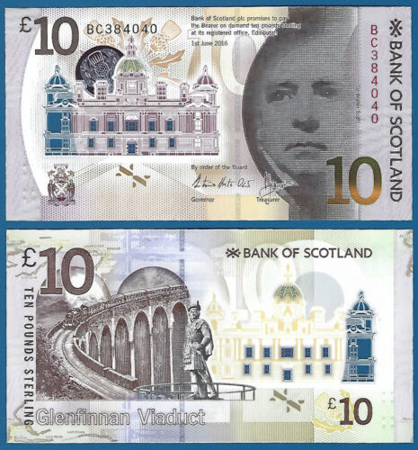 Bank of Scotland 10 Pounds P New 2016 (2017) UNC Polymer Low Shipping! Combine