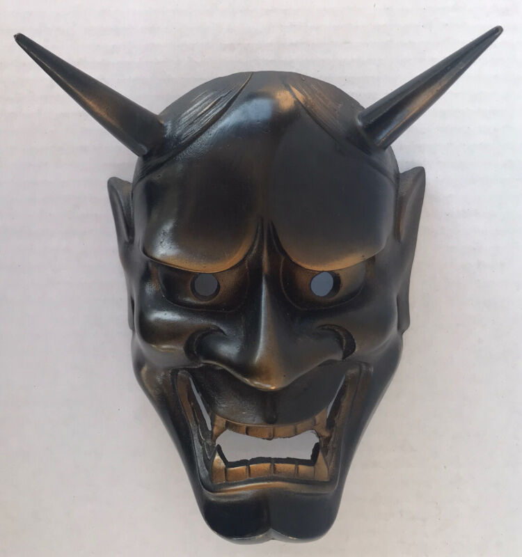 Vintage Japanese Hannya Noh Mask Cast Iron Bronze Rubbed Metal Decorative Mask