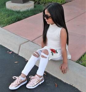 Summer Kids Girl Outfit Set Suit Costumes Bodysuit Striped Clothes Top+Pant 2PCS