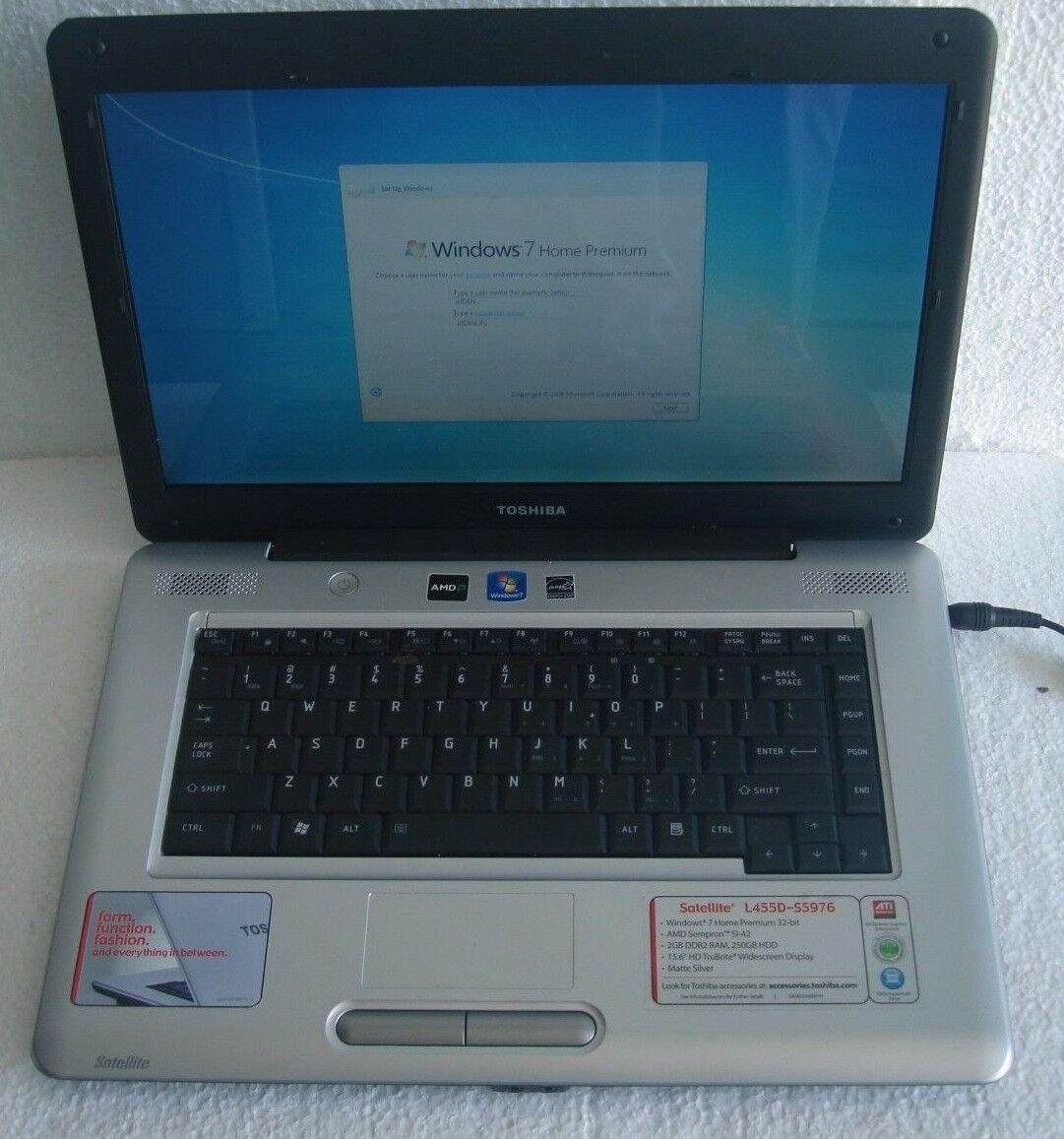 """CHEAP !!! Toshiba L455D  2.10GHz 15.6"""" 4GB 250GB DVDRW WIN 7 HOME PREMIUM"""