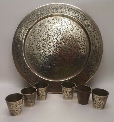 Brass Plate / Tray And X6 Brass Shot Glass / Tumbler