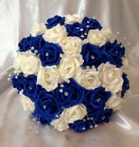 Artificial Flowers Royal Blue Ivory Foam Rose Bride