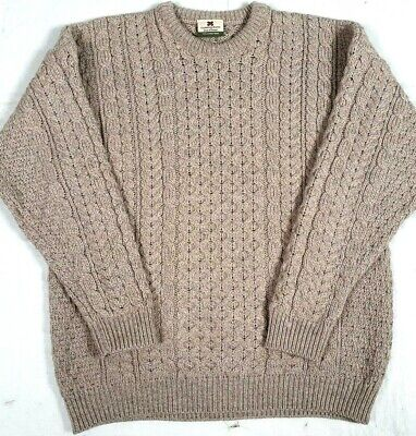 #144 CARRAIG DONN IRELAND MERINO WOOL CABLE FISHERMAN SWEATER MENS LARGE TAN