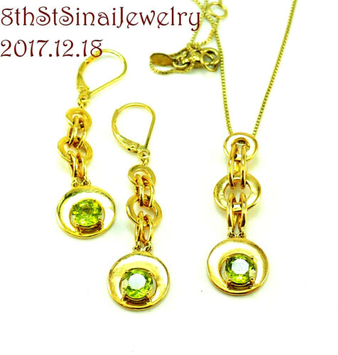 Peridot Color CZ Vermeil Gold over Sterling Silver 925 Necklace and Earrings Set