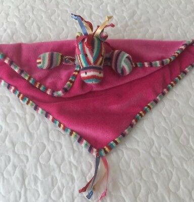 JELLYCAT Pink Pony Maypole Horse Rainbow Baby Security Blanket Lovey Retired